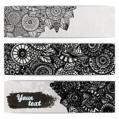 Abstract hand drawn ethnic pattern card set.