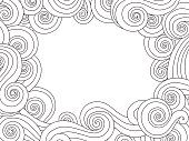 Abstract hand drawn frame, border with outline sea wave background