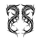Abstract hand drawn tribal tattoo design.