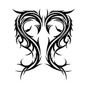 Abstract hand drawn tribal tattoo.