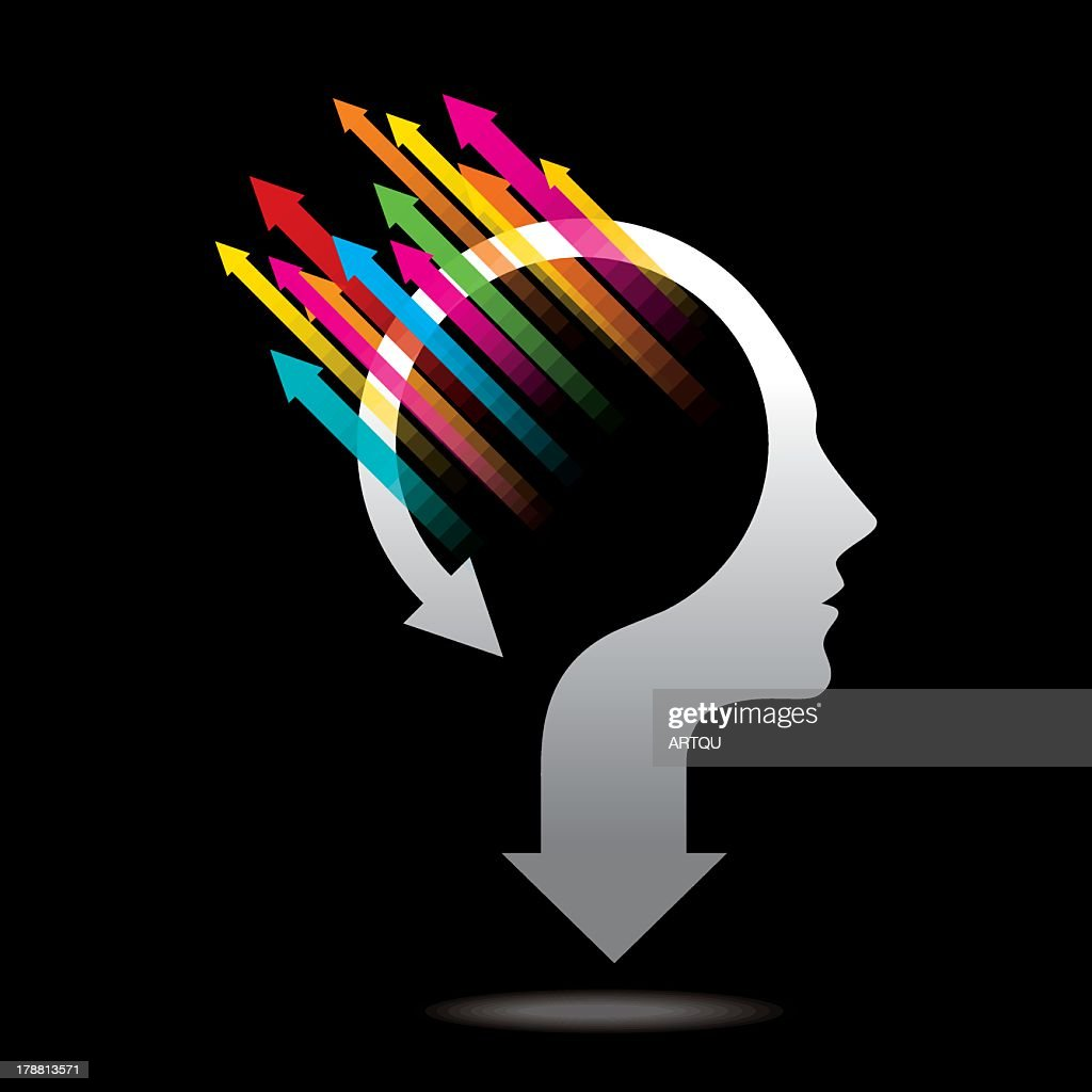 Abstract head and arrows representing thoughts and opinions