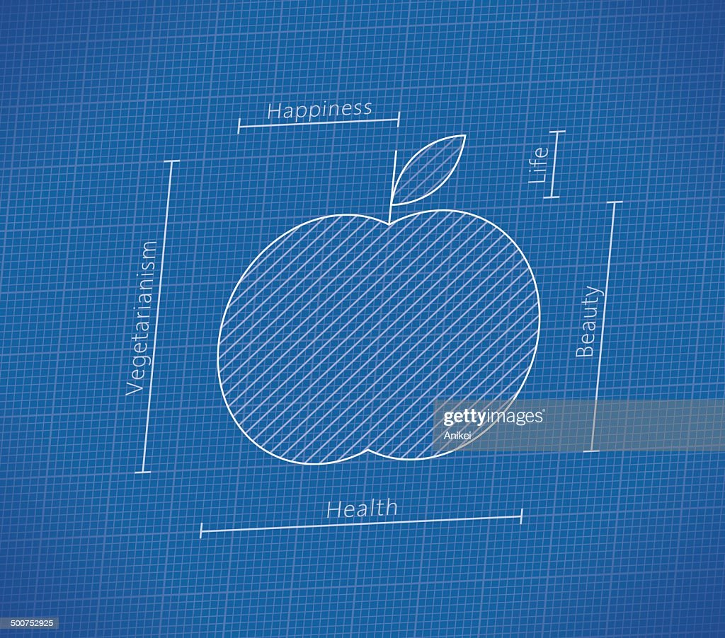Abstract Health Blueprint with apple