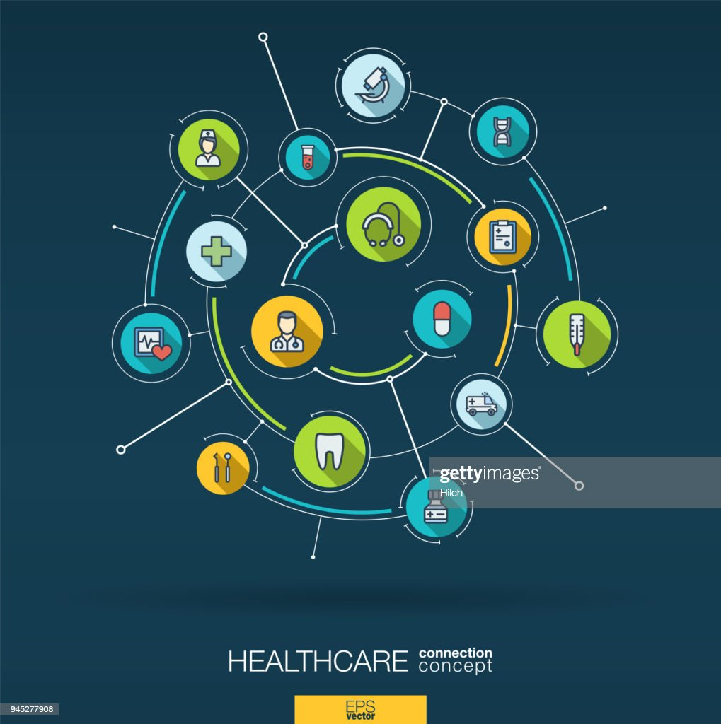 Abstract healthcare and medicine background. Digital connect system with integrated circles, flat thin line icons. Vector infographic.