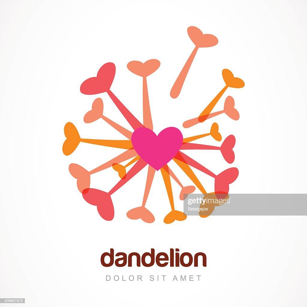 abstract heart dandelion flower symbol vector logo template vector