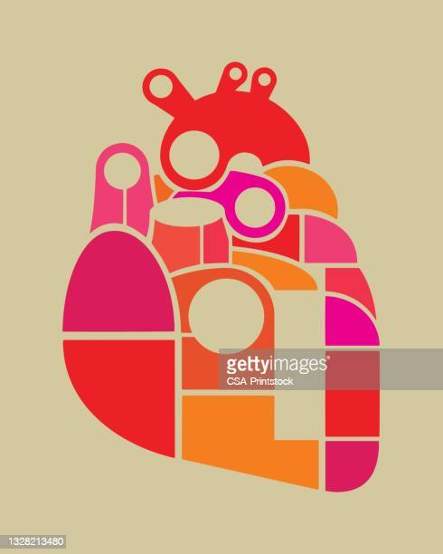 abstract heart in pieces - human heart beating stock illustrations