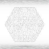 Abstract hexagon circuit board vector background.
