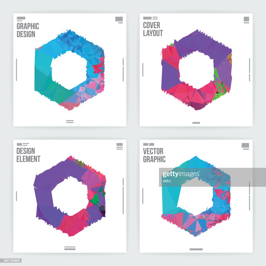 Abstract Hexagon Frame Graphic Design Layout Template Vector Art ...