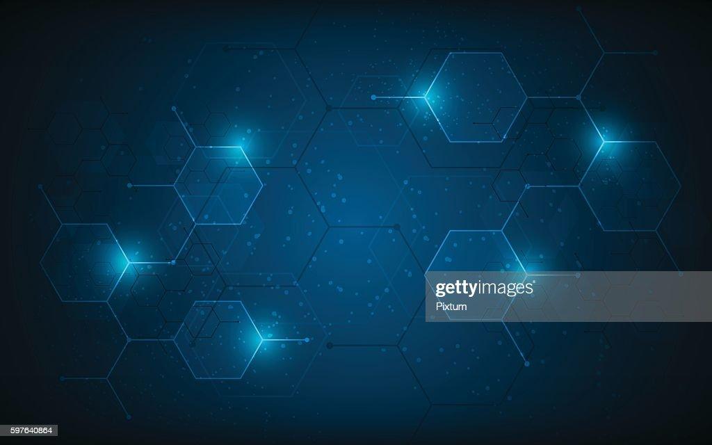 abstract hexagon pattern molecular sci fi scientific innovation concept background