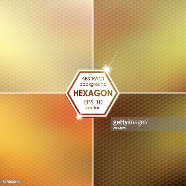 Abstract Hexagon shaped backgrounds set Green-Yellow-Brown Palette