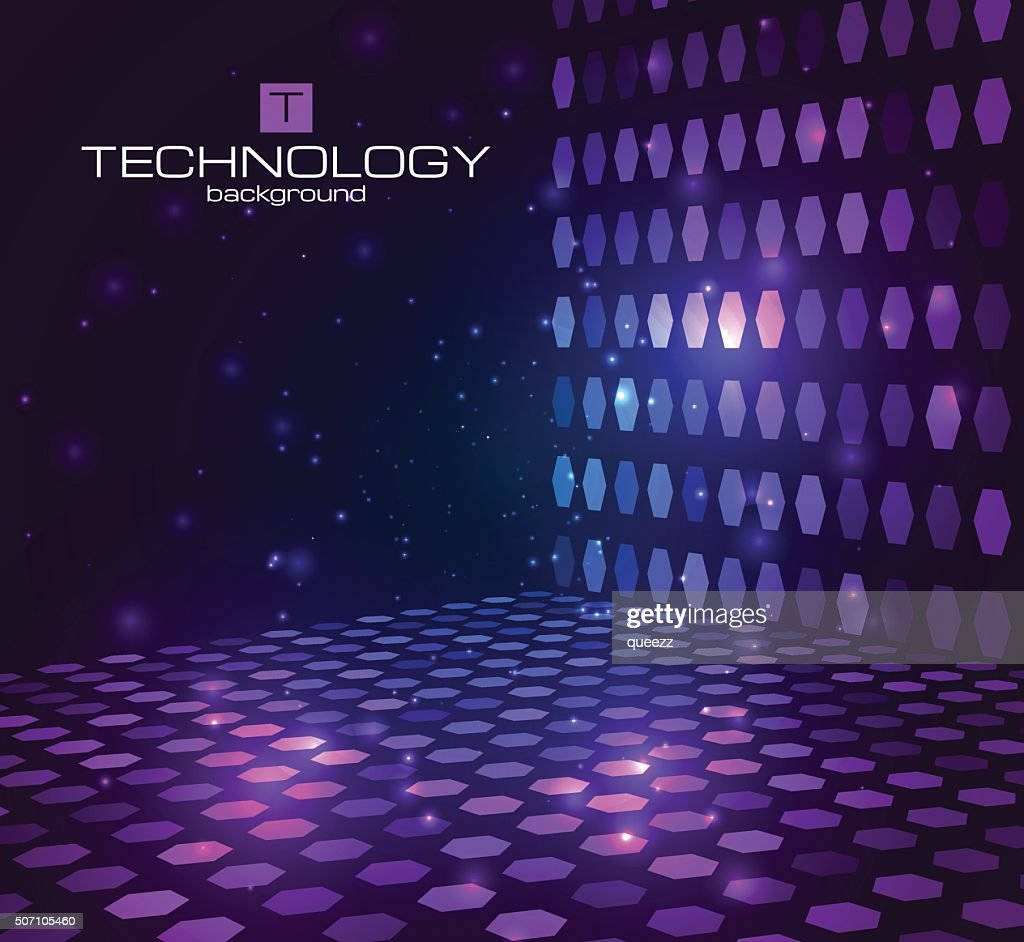 Abstract hexagonal background. Retro disco stage