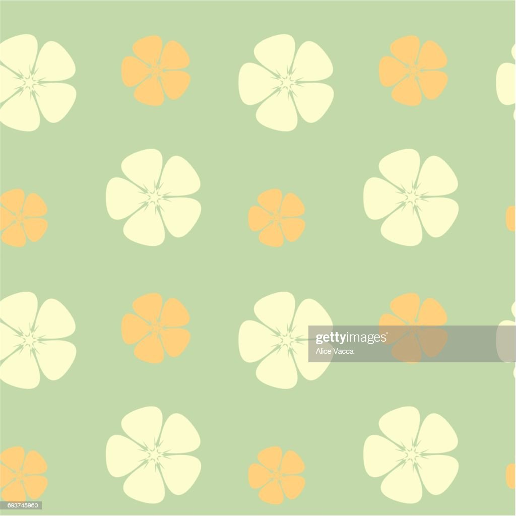 abstract hibiscus flowers seamless vector pattern background illustration