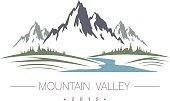 Abstract high mountain icon