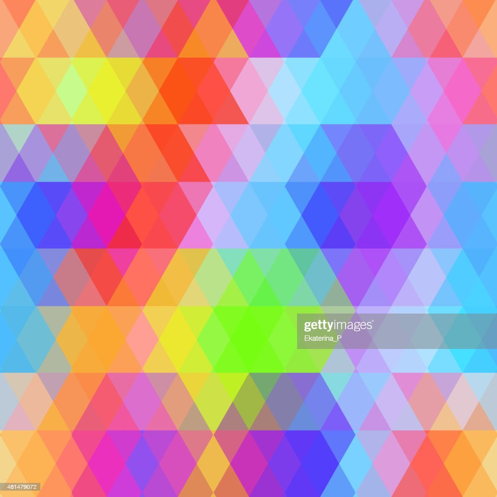 Abstract hipsters seamless pattern with bright colored rhombus. rainbow color