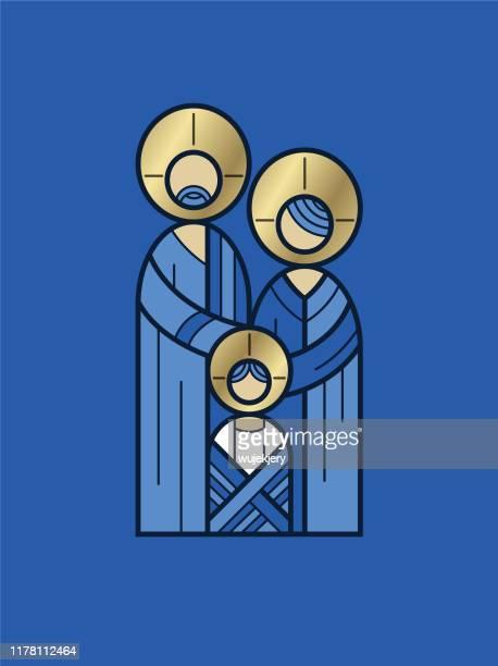illustrazioni stock, clip art, cartoni animati e icone di tendenza di abstract holy family christmas card - gesù cristo