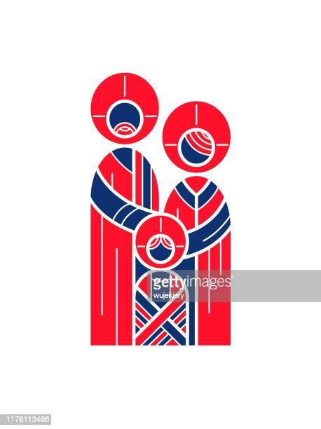 ilustrações de stock, clip art, desenhos animados e ícones de abstract holy family christmas card - cristianismo