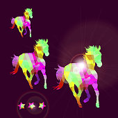 Abstract horse of geometric shapes with stars