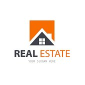 Abstract house logo design template. Business vector icon. Real Estate