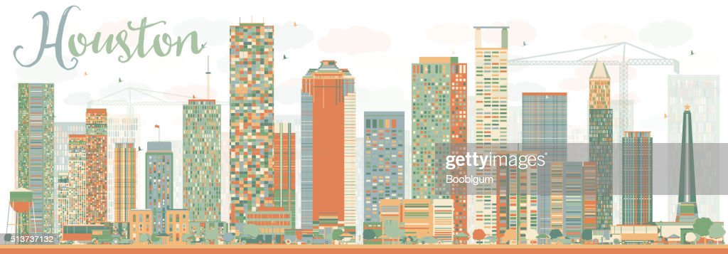 Abstract Houston Skyline with Color Buildings Sky.