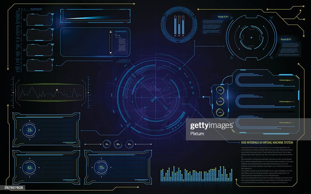abstract hud interface UI technology virtual machine running template background