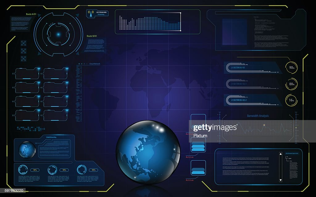 abstract hud UI interface global data access innovation technology concept