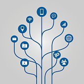 Abstract icon tree illustration - communication and technology concept