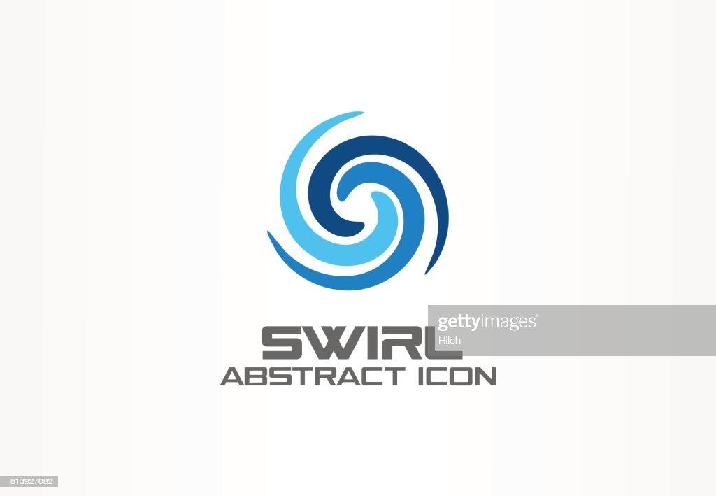 Abstract idea for business company. Eco, nature, whirlpool, spa, aqua swirl symbol. Water spiral, blue circle three segment mix concept. Colorful Vector icon
