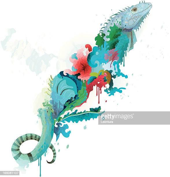 ilustraciones, imágenes clip art, dibujos animados e iconos de stock de iguana abstracto con flores - iguana