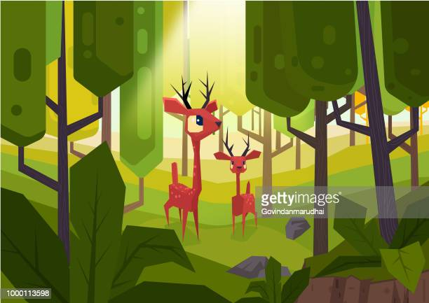 abstract illustration fallow deer in a dreamy forest scene - enclosure stock illustrations