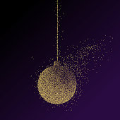 Abstract illustration of a Christmas decoration ball consisting of points and particles.