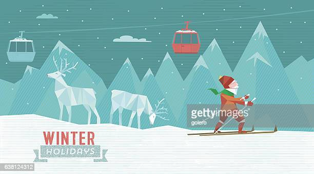 abstract illustration of skiing man in winter holiday landscape