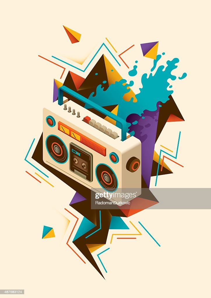 Abstract illustration with isometric radio.