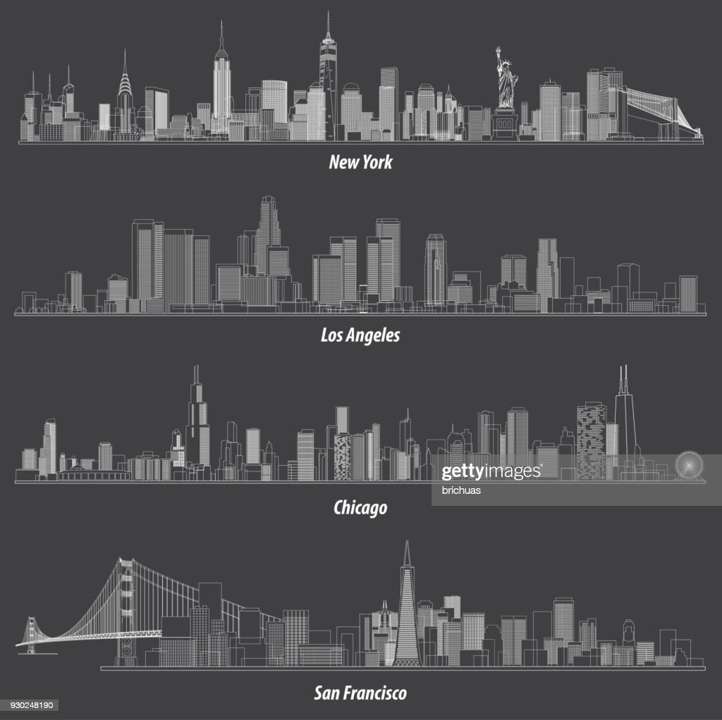 abstract illustrations of United States outlines city skylines