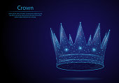 Abstract image crown in the form of a starry sky or space, consisting of points, lines, and shapes in the form of planets and the universe. Low poly vector background.