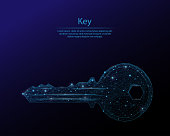 Abstract image of a key in the form of the constellation. Consisting of points and lines. Low poly vector background.