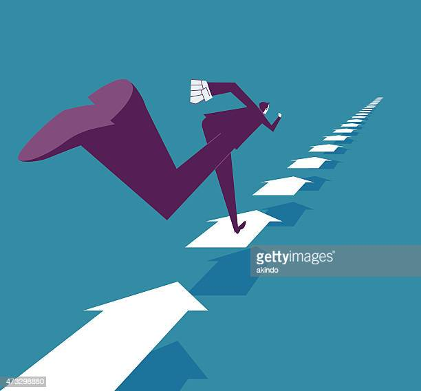 abstract image of businessman running on arrows - distant stock illustrations