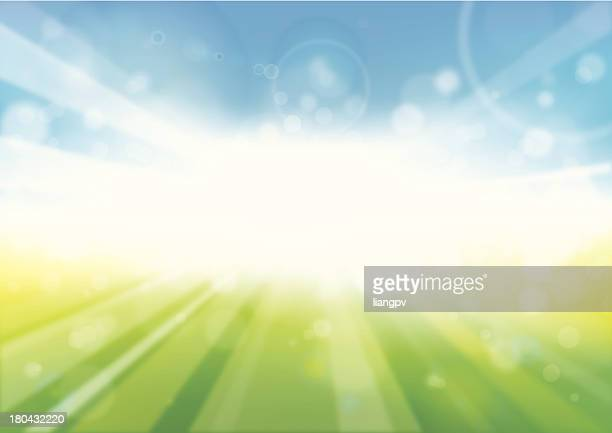 Abstract image of sunbeam with blue and green