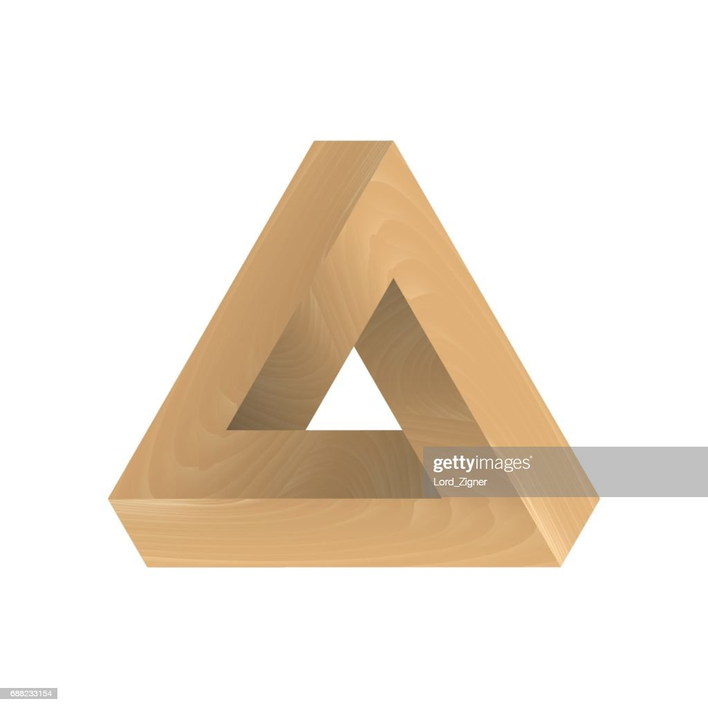 Abstract impossible triangle. Imitation wood. Vector Illustration