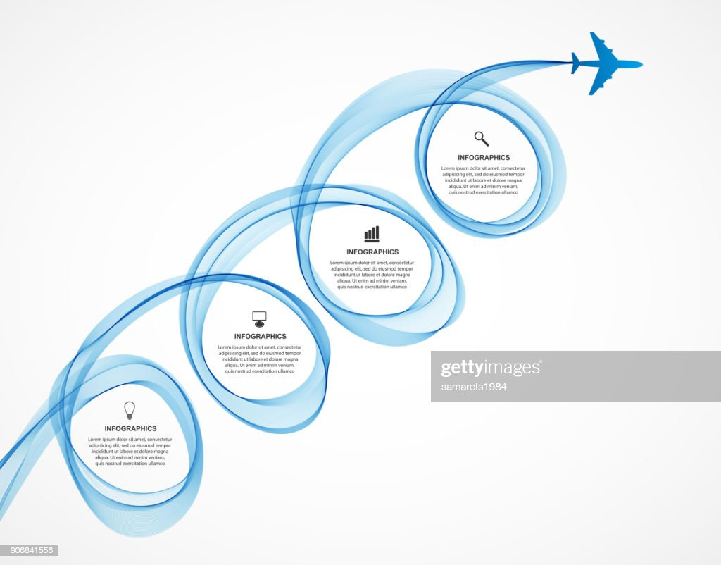 Abstract infographic airplane and wave a blue smoke.