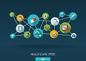 Abstract infographic medicine vector background: lines, circles, integrate flat icons.