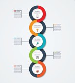 Abstract infographic template. Business concept with 5 options, steps, parts, circles. Vector banner for timeline infographics, workflow layout, diagram chart, annual report, presentation, web design