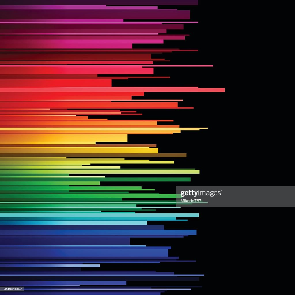 Abstract infographics horizontal rainbow gradient stripes cuts on white background