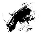 Abstract ink painting, artistic black vetor pattern