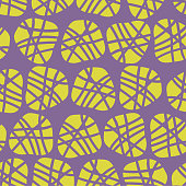 Abstract irregular shapes vector seamless pattern. Lime silhouettes of dots on a purple background. Great for fabric prints, paper projects, and packaging. Great fit for the kids market.