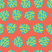 Abstract irregular shapes vector seamless pattern. Turquoise and lime dots on a red background. Great for fabric prints, paper projects, and packaging. Great fit for the kids market.