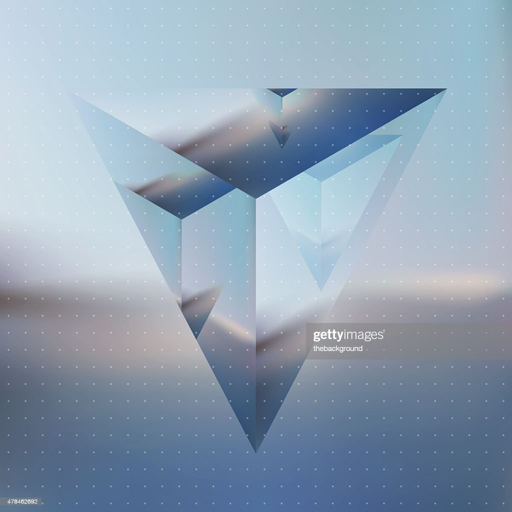 Abstract isometric prism with the reflection of the environment