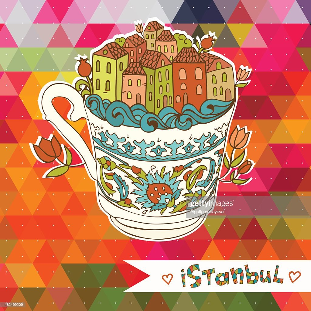 Abstract Istanbul city on the colorful background.