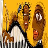 Abstract Jazz Art, Cool Music Band (Vector Art)