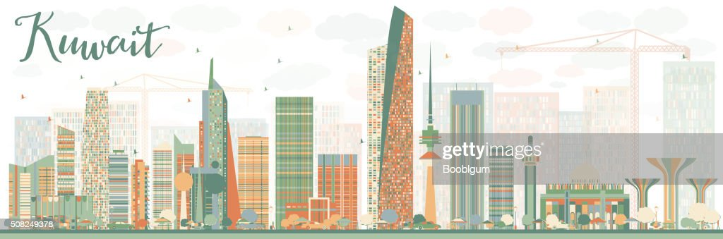 Abstract Kuwait City Skyline with Color Buildings.