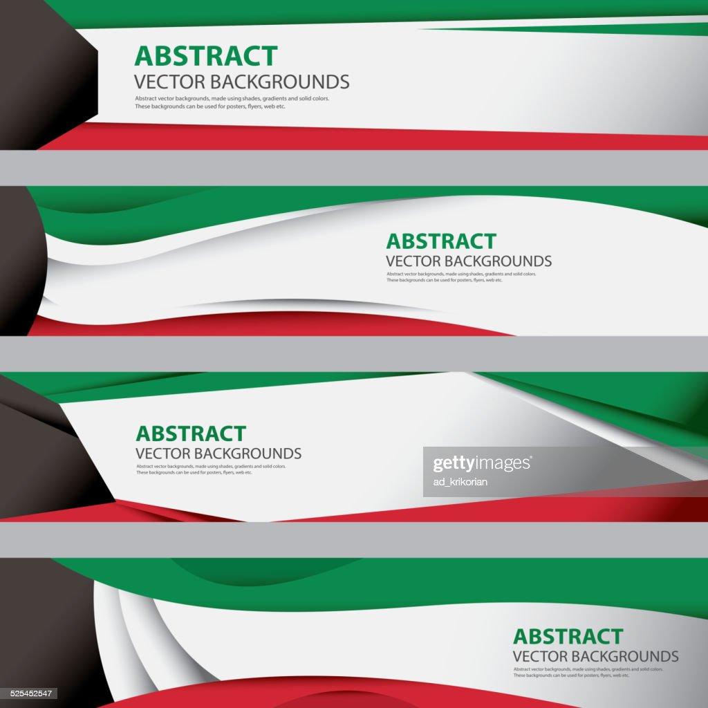 Abstract Kuwait Flag Background, Modern Contemporary Art (Vector Art)