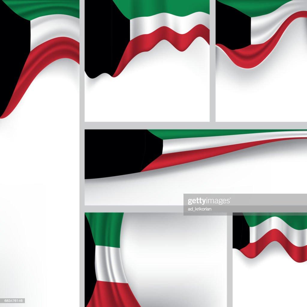 Abstract Kuwait Flag, Kuwaiti Colors (Vector Art)